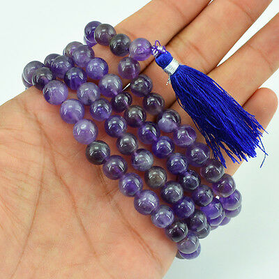 Genuine Buyers Demanded 389.00 Cts Natural Bolivian Amethyst 108 Beads Necklace