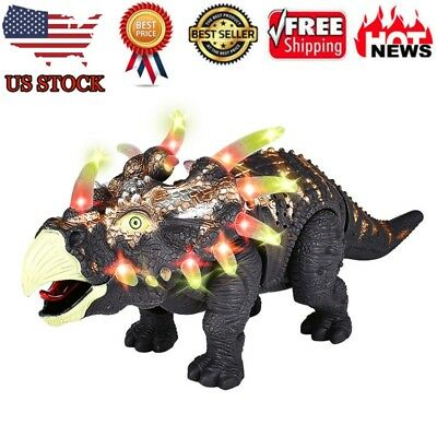 Walking Triceratops Dinosaur Figure With Lights Sounds Real Movement Kids Toy H