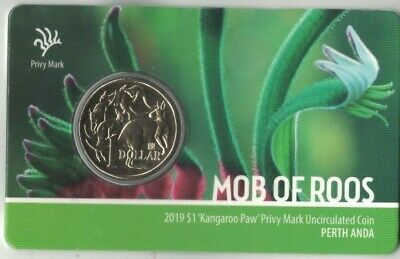 2019 Mob of Roos 'Kangaroo Paw' Privy Mark, PERTH ANDA SHOW SPECIAL, $1 Coin
