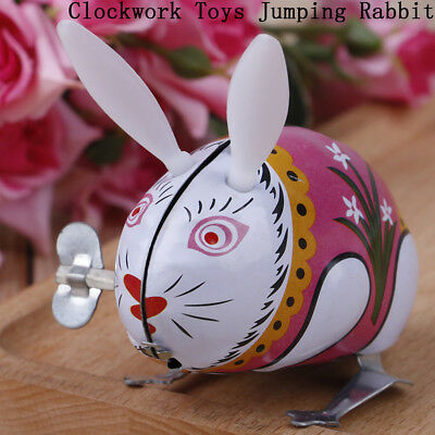 1Pc cute tin wind up clockwork toys jumping rabbit classic toy S&K