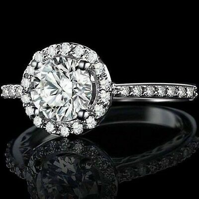 Certified 3 Ct White Round Cut Diamond 14K White Gold Solitaire Engagement Ring