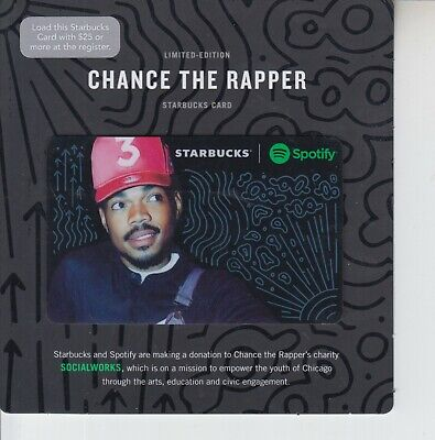 Starbucks gift card Chance the Rapper 2017 Spotify on black backing card