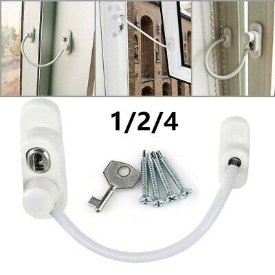 4X Strong Window Door Restrictor Child Baby Safety Security Lock Cable Wire Key