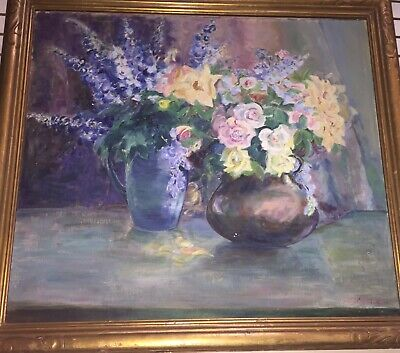 """Original Oil Canvas Painting Signed w 1930s Art Museum ID Tag Flowers Framed 38"""""""