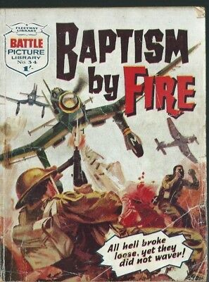 Baptism By Fire,battle Picture Library,no.34,war Comic,1961