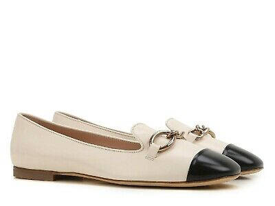 ffa9f004af5af Tod's flats ballerinas Italian shoes off white leather black toe Size US  10-IT40