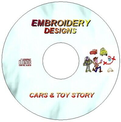 New Disney Cars & Toy Story Embroidery Machine Designs Cd Pes Format Brother