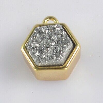 9mm Natural Agate Titanium Druzy Bezel Charm One Bail Gold Plated H130930
