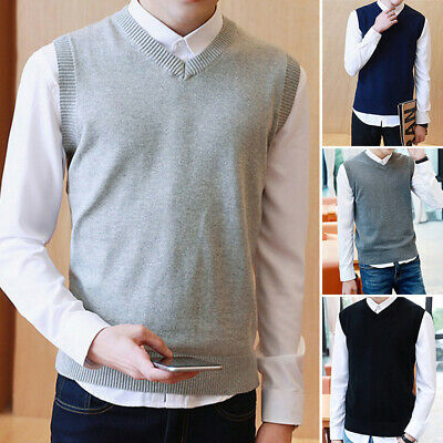 Mens Sweater Knitted Basic Vest Warm Wool V-Neck Sleeveless Pullover Tops Shirts