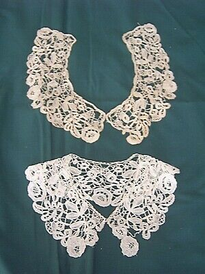 ** Vintage Lace Collars - Two Similar - One White - One Cream [Qqq]