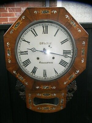 Benzie Basingstoke Mother of Pearl Inlaid Wall Clock / Late 19th Early 20th Cent