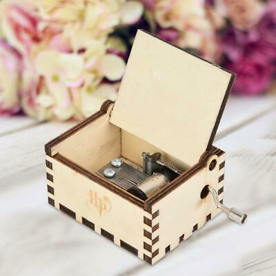 Harry Potter Music Box Engraved Wooden Music Box Hand Crank Musical Toys Gift