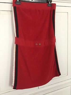 74204b05e6 Vintage Strapless Red Terry Cloth Tube Dress Beach Cover Up Swim Size S
