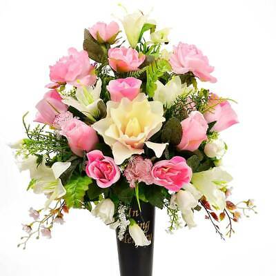 Lou In Loving Memory Pink Memorial Grave Vase Artificial Flower Arrangement
