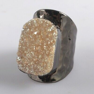 Size 6.5 Natural Agate Titanium Druzy Ring Gun Black Plated B077982