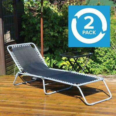 Wido 2X PACK BLACK ALUMINIUM FRAMED ADJUSTABLE SUN LOUNGER GARDEN PATIO CHAIR