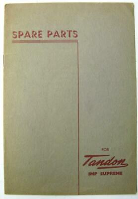 TANDON Imp Supreme c 1950s Motorcycle Owners Parts List
