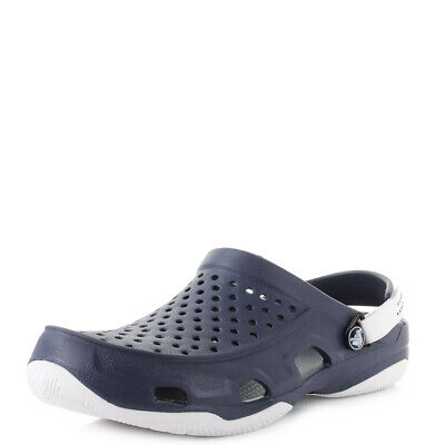 Mens Crocs Swiftwater Deck Clog Navy White Sandals Size