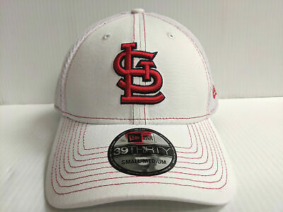 watch b153e 62ea5 St. Louis Cardinals Cap New Era 39Thirty Stretch Fit Mesh White Team Neo Hat  MLB