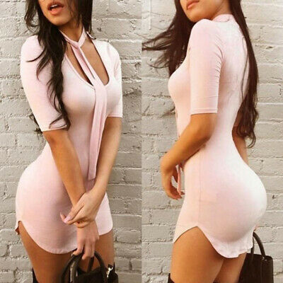 Women Sexy Low-cut Short Sleeve Stretch Package Hip Bodycon Mini Party Dress LD