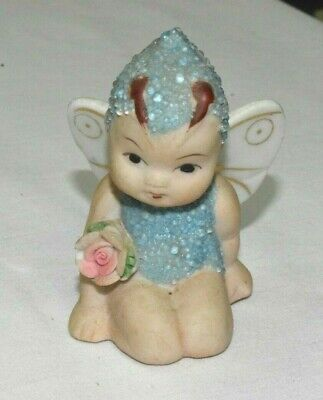 Vintage Coralene Bisque Fairy Snow Baby Blue Butterfly Figurine Wings JAPAN
