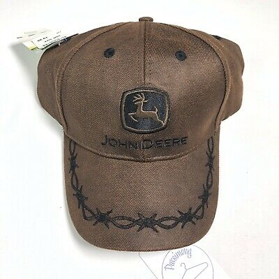 e0d0348c304 John Deere Country Oilskin Barbed Wire Logo Adjustable Hat Cap Brown 1 Size  NWT