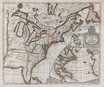 1695 Morden and Harris Map of the English Empire in America