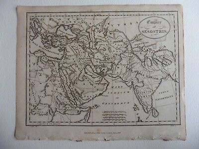 Jehosaphat Aspin, 1819, Ancient Empire Of Sesostris, Egypt, Antique Small Map
