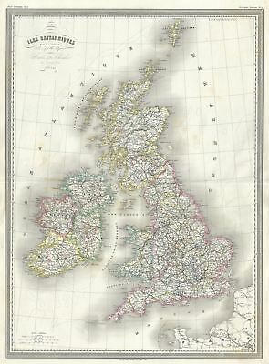 1860 Dufour Map of the British Isles (Scotland, Ireland, England, Wales)