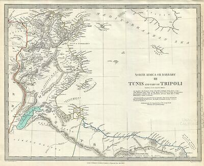 1836 S.D.U.K. Map of Tunisia and Tripoli, Barbary Coast, Northern Africa