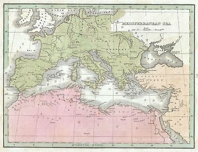 1835 Bradford Map of the Mediterranean Region