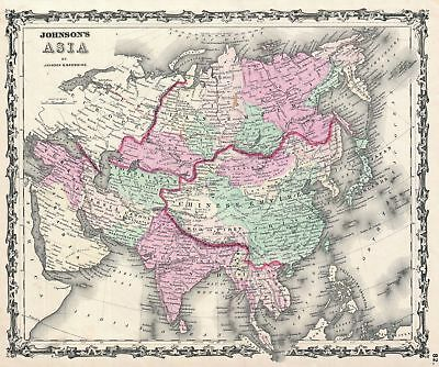 1861 Johnson Map of Asia