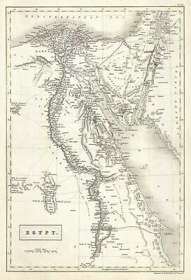 1844 Black Map of Egypt and the Sinai