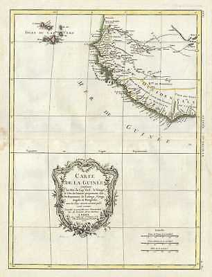 1771 Bonne Map of the Guinea Coast of West Africa and the Cape Verde Islands