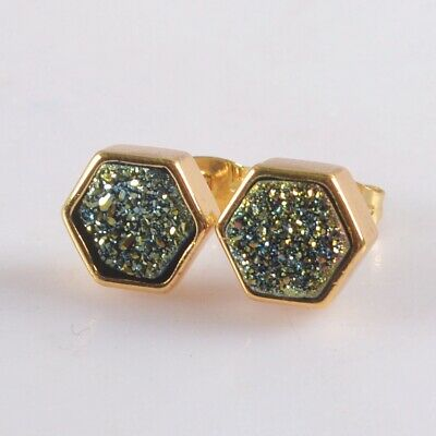 9mm Natural Agate Titanium Druzy Bezel Stud Earrings Gold Plated B078024