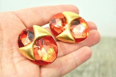 Stunning VTG 80s FLASH ~ Huge Orange Rhinestone / Gold ~ Clip Earrings ~ Quality