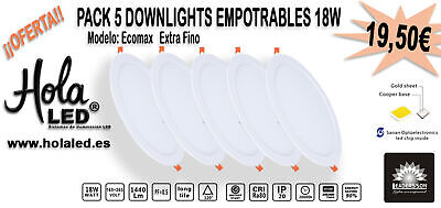 Pack de 5 Downlights 225 mm diámetro 18W