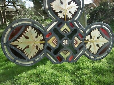 SUPERB 19thc ARCHITECTURAL GOTHIC LEADED STAINED GLASS WINDOW  C.1860