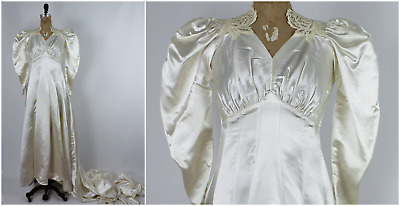 Vintage 1940s/30s Off White Satin Bias Cut Puffy Shoulder Wedding Gown Dress 40s