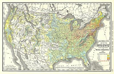1892 Rand McNally Map of the United States showing Density of Population