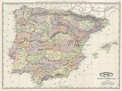 1892 Rand McNally Map of Spain and Portugal