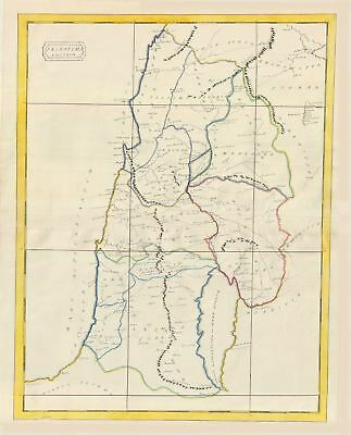 1823 Manuscript Map of Palestine or Holy Land in Antiquity