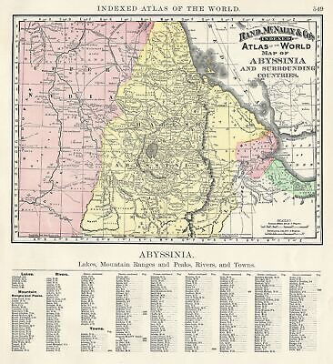 1892 Rand McNally Map of Abyssinia (Ethiopia)