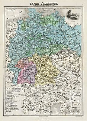 1878 Migeon Map of the German Empire