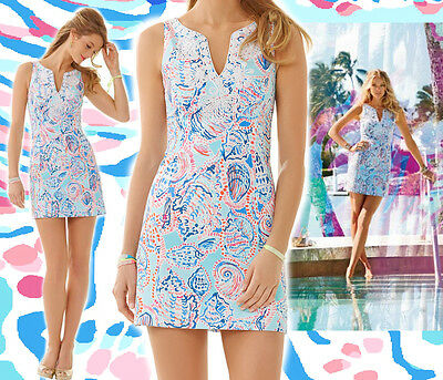 $198 Lilly Pulitzer Gabby Shell Me About It Print Corded Lace Detail Shift Dress