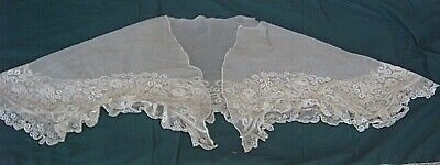 ** Vintage Lace  Shawl - Embroidered Tulle With Lace Edge - Damaged  [A1]