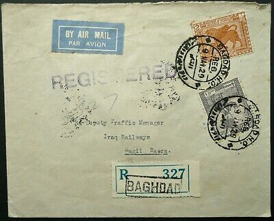 Iraq 9 May 1929 Registered Airmail Postal Cover From Baghdad To Magil, Basra