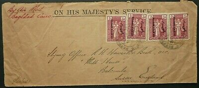 "Iraq ""on State Service"" Official Airmail Postal Cover - Baghdad To Sussex, Uk"