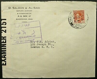 Iraq 4 Feb 1943 Airmail Postal Cover From Baghdad To London, England - Censored
