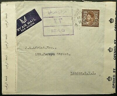 Iraq 1944 Airmail Postal Cover From Baghdad To London, England - Censored